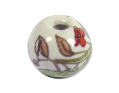 Z213531 213531 Cuenta ceramica bola esmaltada blanca con pajaro verde Innspiro
