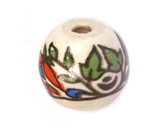 Z213532 213532 Cuenta ceramica bola decorada blanca con dibujo de colores Innspiro
