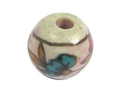 Z213533 213533 Cuenta ceramica bola esmaltada blanca con flor roja y verde Innspiro