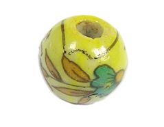 213534 Z213534 Cuenta ceramica bola esmaltada amarilla con flor roja y verde Innspiro