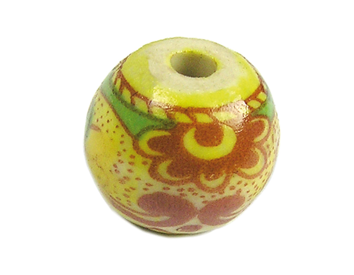 213535 Z213535 Cuenta ceramica bola decorada amarilla con paisaje verde y rojo Innspiro