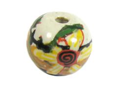 213539 Z213539 Cuenta ceramica bola decorada blanca con flor amarilla Innspiro