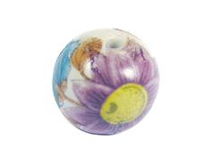 Z213540 213540 Cuenta ceramica bola decorada blanca con flor lila Innspiro
