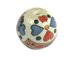 213542 Z213542 Cuenta ceramica bola decorada blanca con dibujo de colores Innspiro