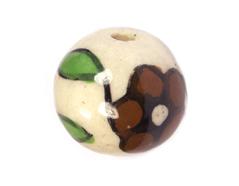 213543 Z213543 Cuenta ceramica bola esmaltada blanca con flor marron Innspiro