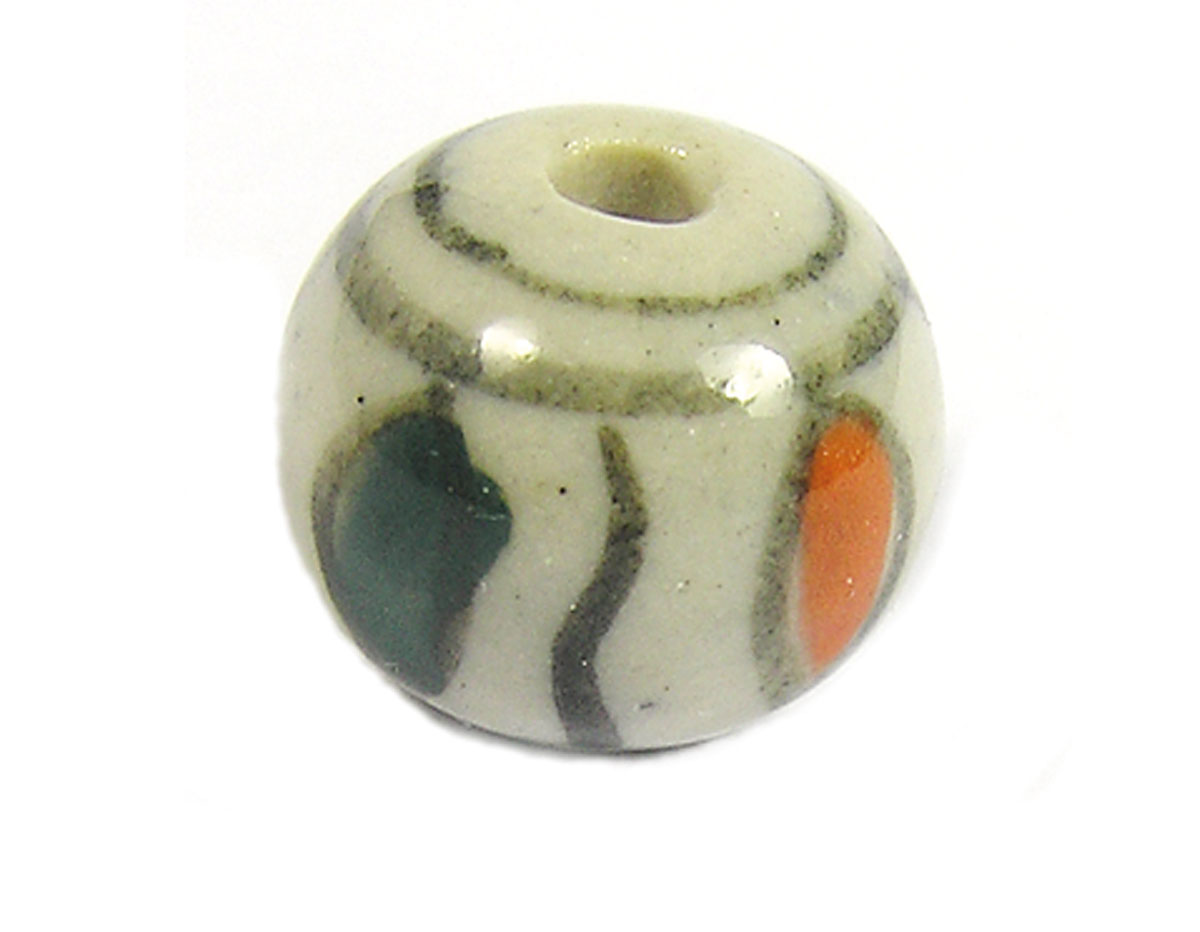 213544 Z213544 Cuenta ceramica bola esmaltada verde y naranja Innspiro