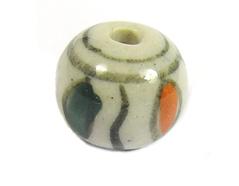 213544 Z213544 Cuenta ceramica bola esmaltada verde y naranja Innspiro - Ítem