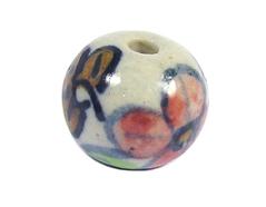 Z213546 213546 Cuenta ceramica bola esmaltada blanca con flor roja azul y verde Innspiro