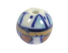 213548 Z213548 Cuenta ceramica bola esmaltada blanca con flor azul Innspiro