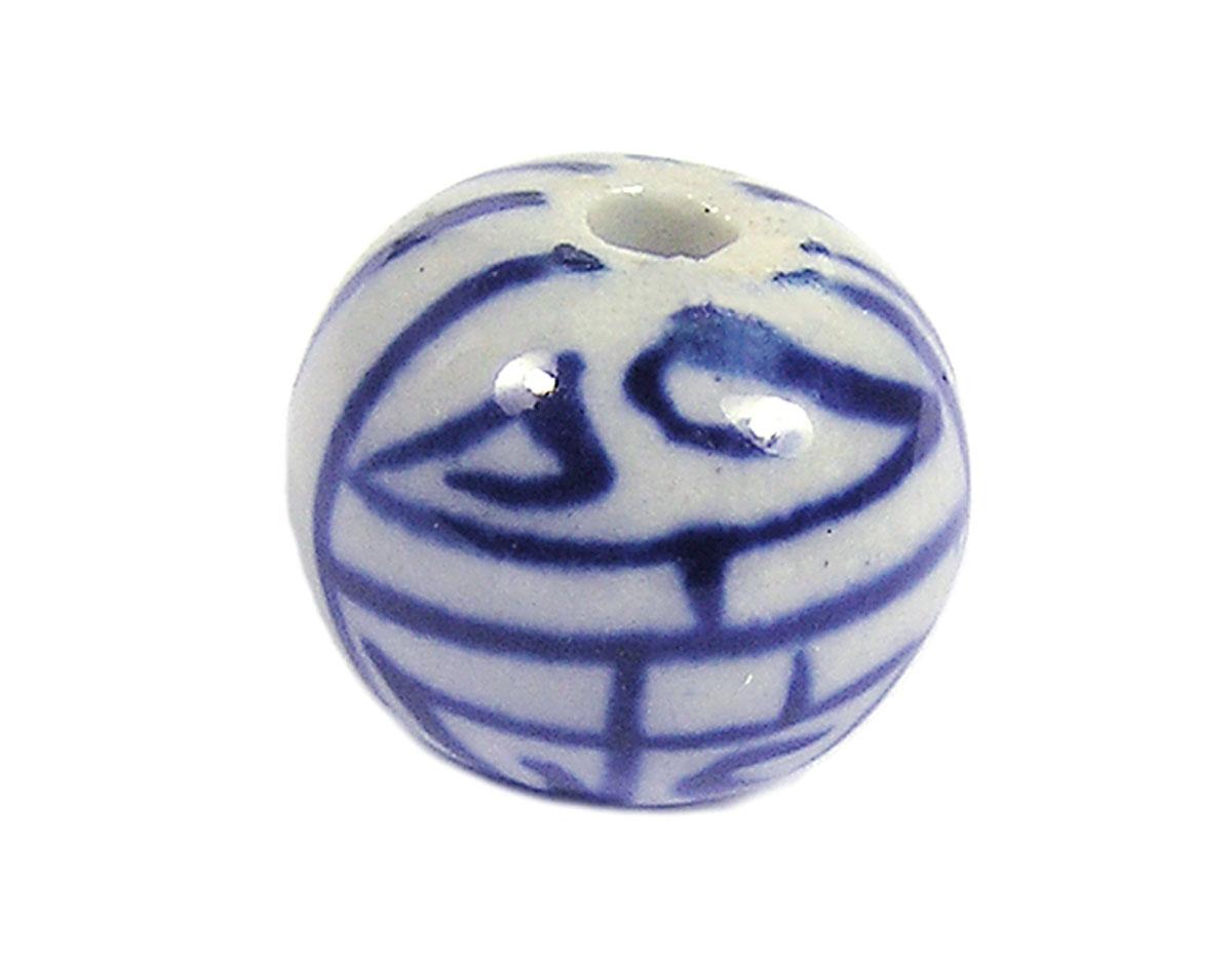213550 Z213550 Cuenta ceramica bola esmaltada blanca con lineas azules Innspiro