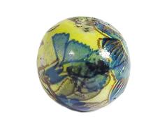213552 Z213552 Cuenta ceramica bola decorada amarilla con paisaje marron y verde Innspiro