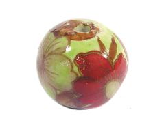 213553 Z213553 Cuenta ceramica bola decorada verde con flor roja Innspiro