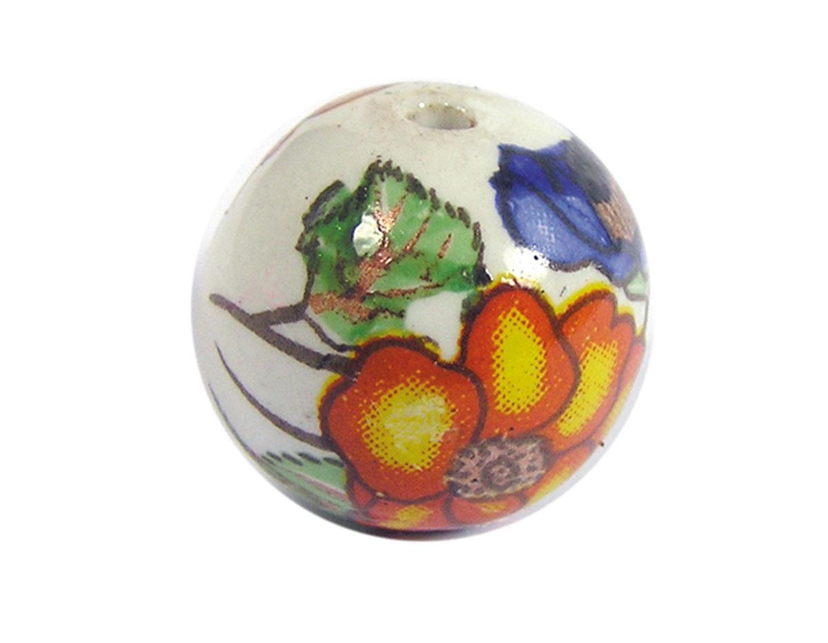 Z213554 213554 Cuenta ceramica bola decorada blanca con flor naranja verde y azul Innspiro