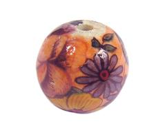 Z213555 213555 Cuenta ceramica bola decorada rosa con flor roja y azul Innspiro
