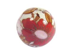 Z213556 213556 Cuenta ceramica bola decorada blanca con flor roja y rosa Innspiro
