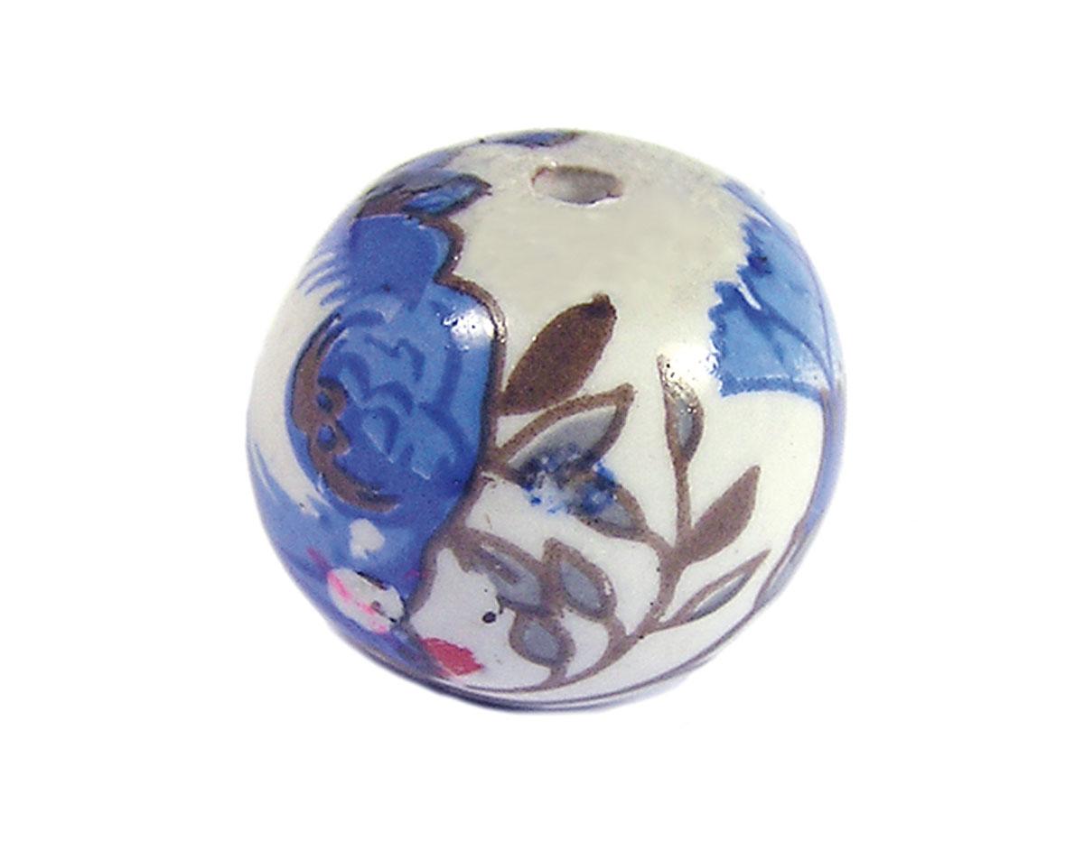 Z213557 213557 Cuenta ceramica bola decorada blanca con flor azul Innspiro