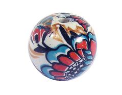 Z213558 213558 Cuenta ceramica bola decorada blanca con flor de colores Innspiro