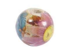 Z213560 213560 Cuenta ceramica bola decorada blanca con flor rosa y azul Innspiro