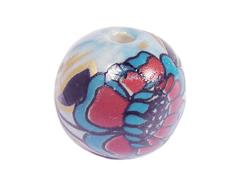 Z213561 213561 Cuenta ceramica bola decorada azul con flor roja y verde Innspiro