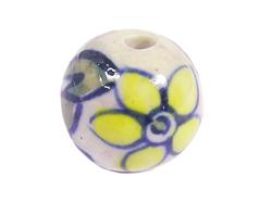 Z213564 213564 Cuenta ceramica bola esmaltada blanca con flor amarilla Innspiro
