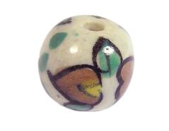Z213566 213566 Cuenta ceramica bola esmaltada blanca con hojas marrones y verdes Innspiro