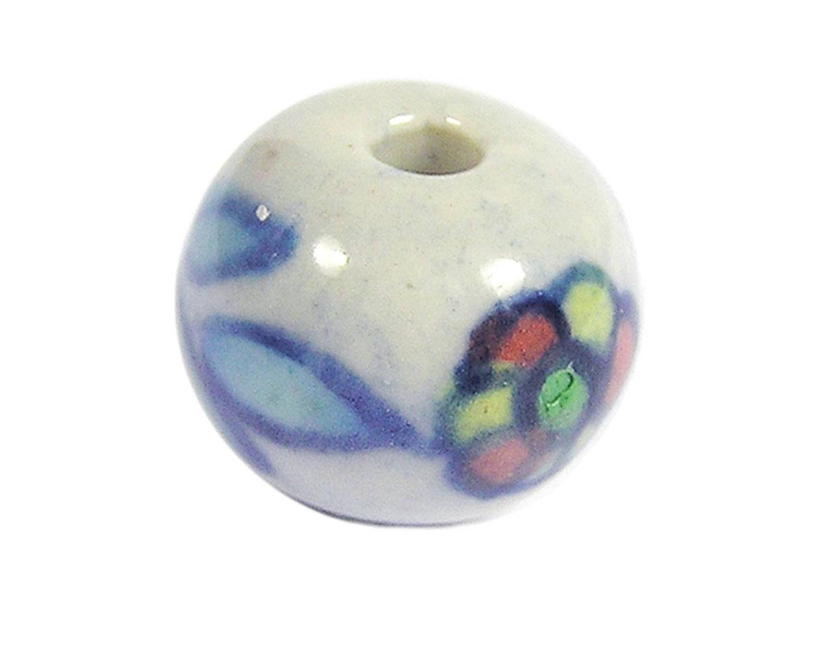 Z213567 213567 Cuenta ceramica bola esmaltada blanca con flor colores Innspiro