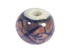 213568 Z213568 Cuenta ceramica bola esmaltada blanca con dibujo marron Innspiro