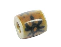Z213572 213572 Cuenta ceramica cilindro esmaltada marron con sol rojo Innspiro