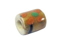 Z213575 213575 Cuenta ceramica cilindro esmaltada marron con lineas colores Innspiro