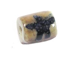 213576 Z213576 Cuenta ceramica cilindro esmaltada marron con estrella negra Innspiro