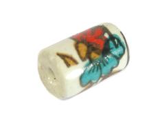 213582 Z213582 Cuenta ceramica cilindro decorada blanca con flor roja Innspiro