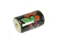 213585 Z213585 Cuenta ceramica cilindro esmaltada negra con flor roja Innspiro