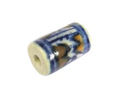 213587 Z213587 Cuenta ceramica cilindro esmaltada blanca con dibujo azul y marron Innspiro