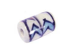 213588 Z213588 Cuenta ceramica cilindro esmaltada blanca con lineas colores Innspiro