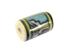 Z213590 213590 Cuenta ceramica cilindro esmaltada blanca con dibujo amarillo azul y verde Innspiro