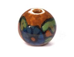 Z213591 213591 Cuenta ceramica bola esmaltada marron con flor azul Innspiro
