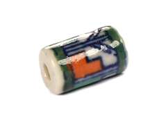 Z213593 213593 Cuenta ceramica cilindro esmaltada blanca con dibujo azul verde y naranja Innspiro