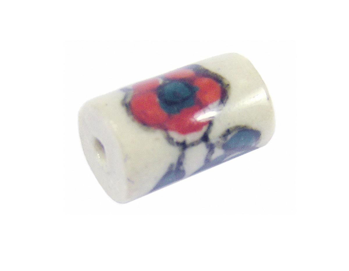 213594 Z213594 Cuenta ceramica cilindro esmaltada blanca con flor roja y verde Innspiro
