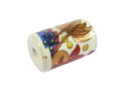 213595 Z213595 Cuenta ceramica cilindro decorada blanca con dibujo de colores Innspiro