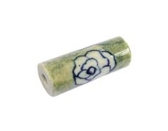 213599 Z213599 Cuenta ceramica cilindro esmaltada verde con flor blanca Innspiro