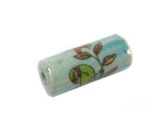 Z213608 213608 Cuenta ceramica cilindro decorada azul con dibujo verde Innspiro