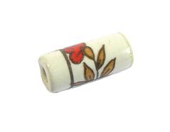 Z213610 213610 Cuenta ceramica cilindro decorada blanca con dibujo marron y rojo Innspiro
