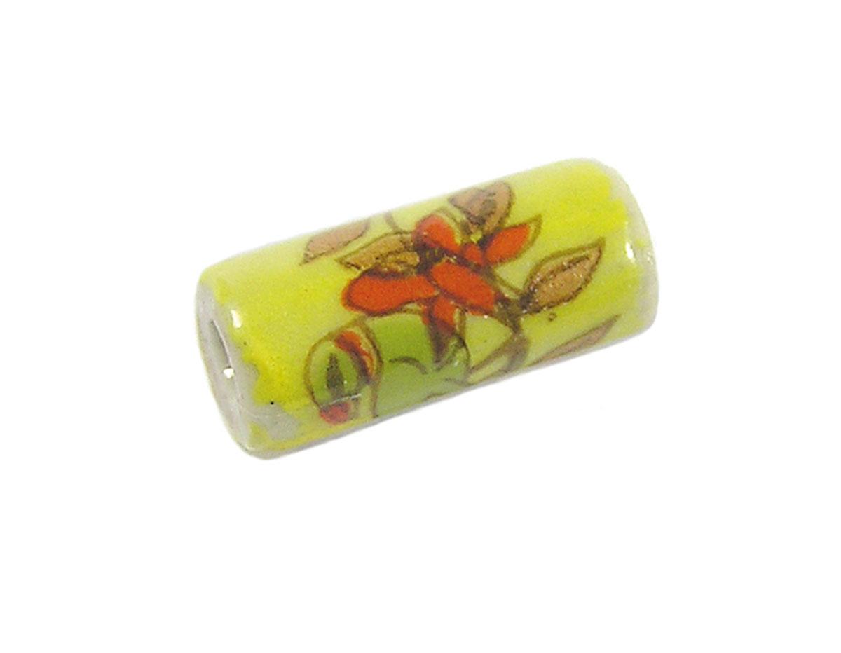 213611 Z213611 Cuenta ceramica cilindro decorada amarilla con flor roja Innspiro