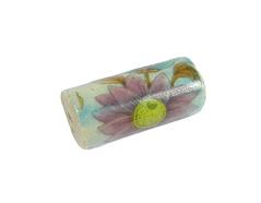 213612 Z213612 Cuenta ceramica cilindro decorada azul con flor rosa Innspiro