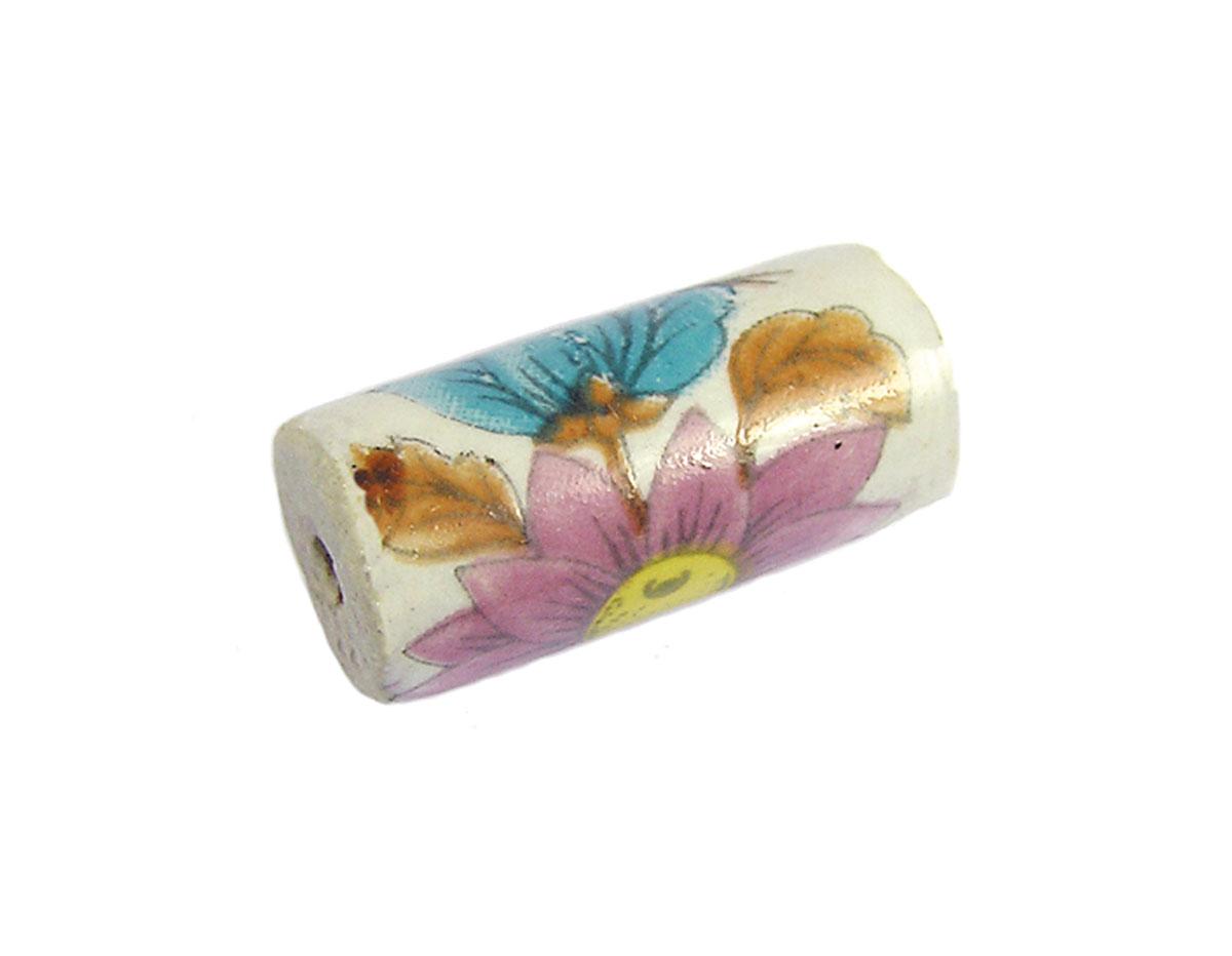 213613 Z213613 Cuenta ceramica cilindro decorada blanca con flor azul y rosa Innspiro