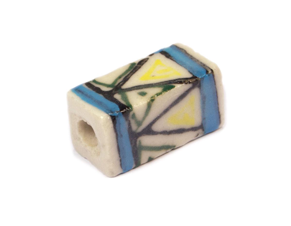 213614 Z213614 Cuenta ceramica rectangulo esmaltada blanca con dibujo amarillo y azul Innspiro
