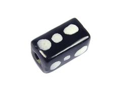 Z213616 213616 Cuenta ceramica rectangulo esmaltada negra con puntos blancos Innspiro