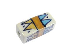 Z213617 213617 Cuenta ceramica rectangulo esmaltada blanca con triangulos marrones y azules Innspiro