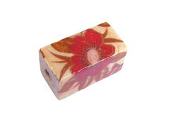 Z213620 213620 Cuenta ceramica rectangulo decorada con flor roja Innspiro