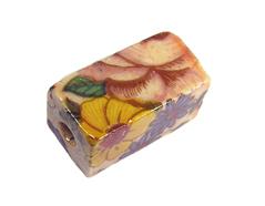 Z213622 213622 Cuenta ceramica rectangulo decorada con flores de colores Innspiro